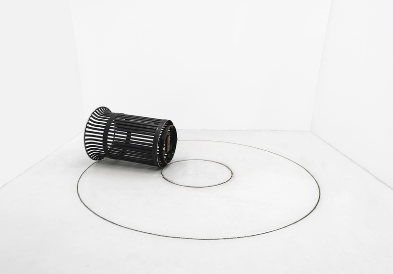 Gary LaPointe Jr., Rolled Trash Can, Circle Drawing, Polished city trash can, graphite and rust, 2015