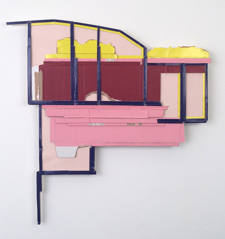Ryan Sarah Murphy, Tandem (Dwell 2), Found (unpainted) cardboard, cut book covers, foamcore; Wall Installation, 2018