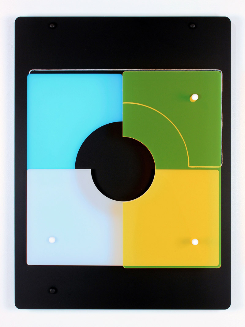 Yvette Kaiser Smith, pi x 5s (68440) Matte black, neon blue, 40% light transmission white and fluorescent yellow laser-cut acrylic, Neocolor II crayon, nylon spacers, capped hardware